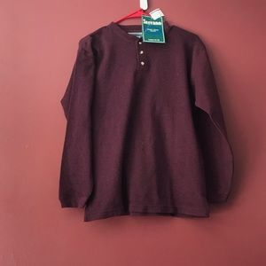 NWT Serrano Long Sleeve Maroon Henley Shirt L